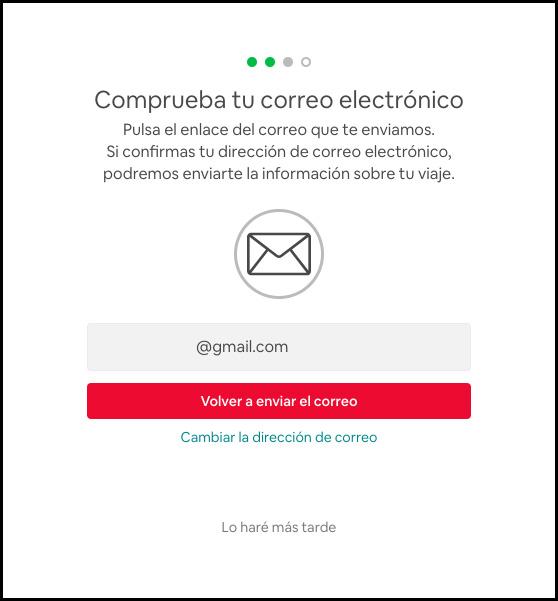confirmación del email, registro en airbnb, descuento alojamiento.