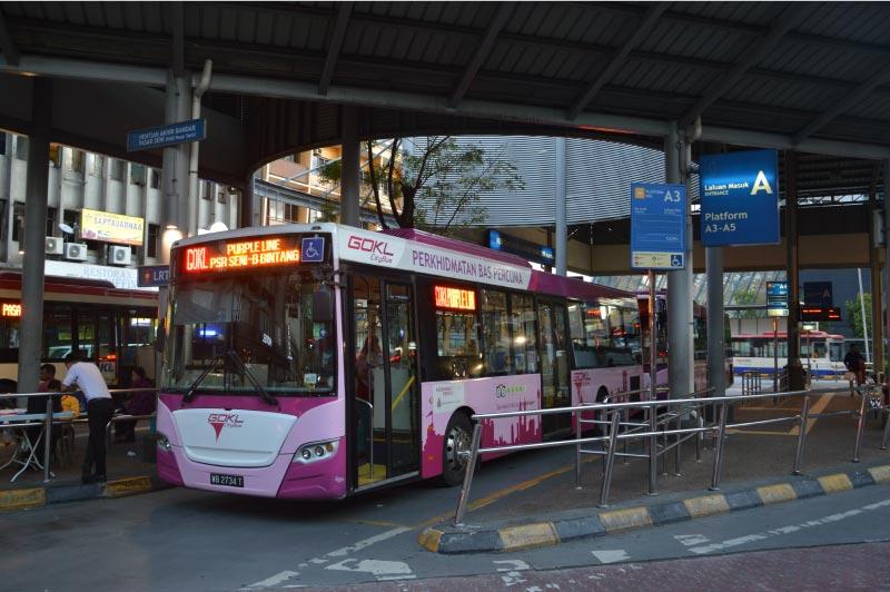 autobus gratuito, linea morada, chinatown, pasar seni