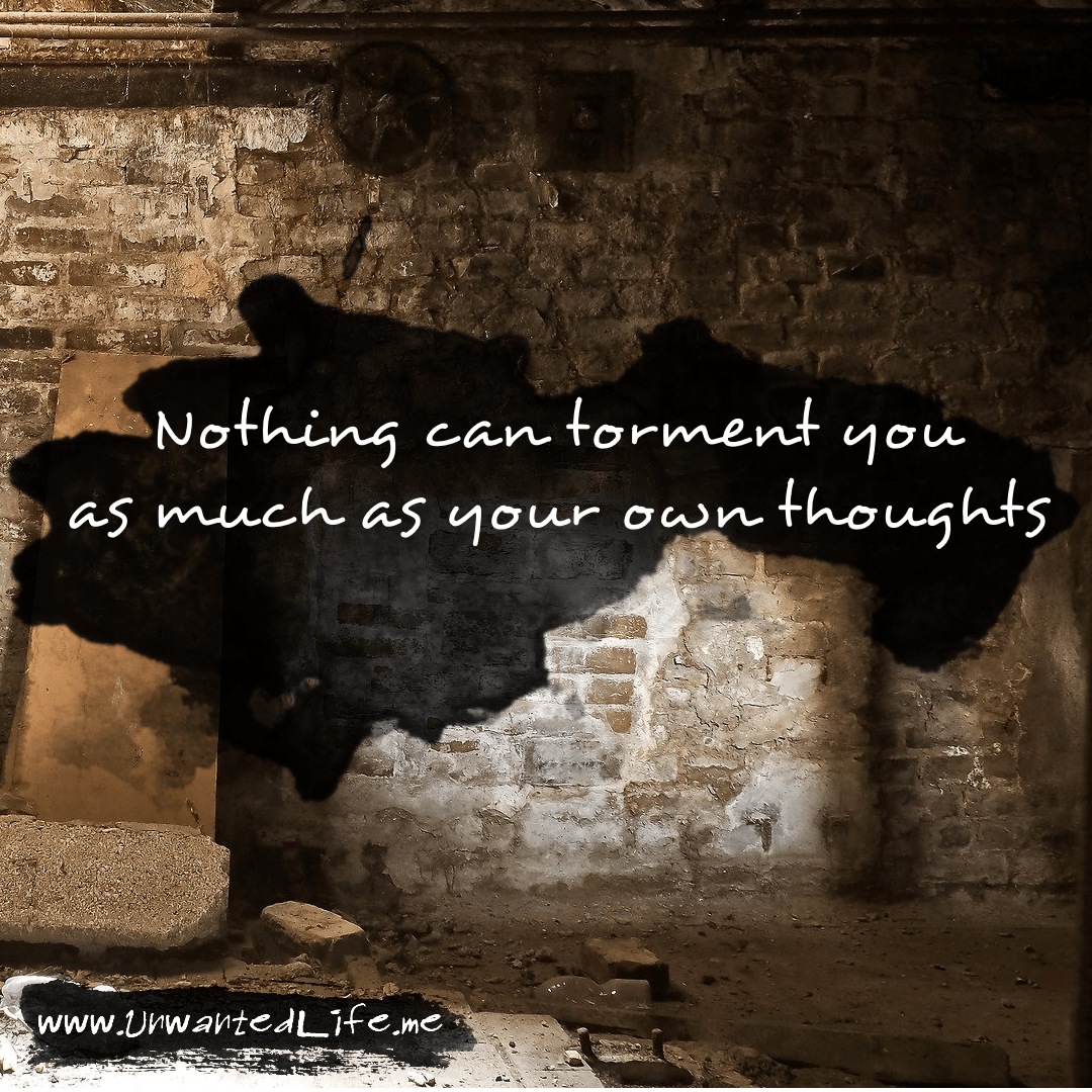 """An image from the inspirational quotes gallery, featuring industrial backgrounds with an inspirational quote that says """"Nothing can torment you as much as your own thoughts"""""""