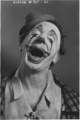 """WPA Federal Theatre Circus. """"Rocco"""" member of clown alley. 69-TC-NYC-19-917-40."""