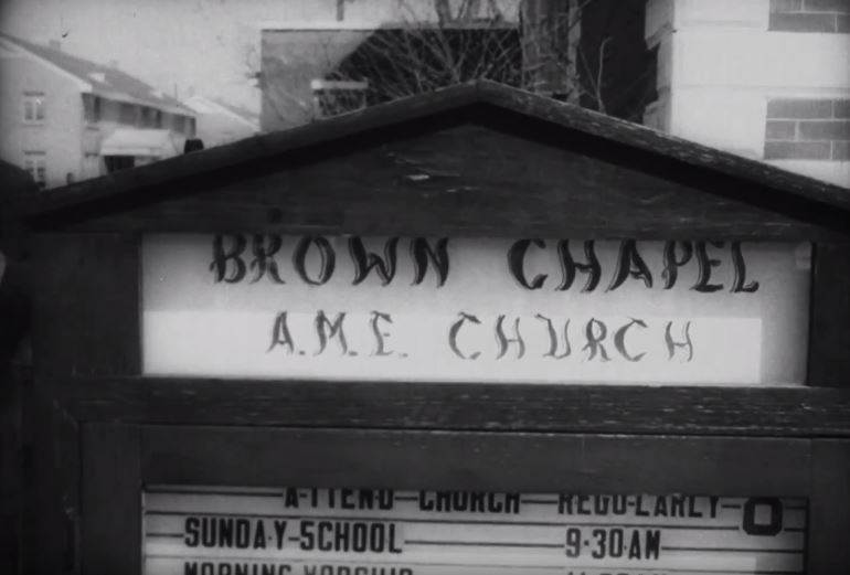 Sign for Brown Chapel A.M.E. Church, headquarters of the Selma Voting Rights Movement.