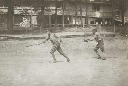 One-armed baseball team, Walter Reed Hospital. Strike three, a safe hit. 165-WW-266A-68