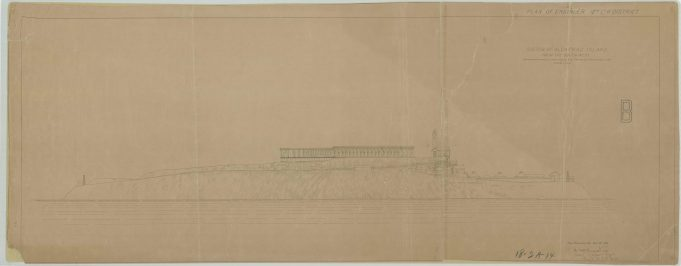 RG26: Lighthouse Plans; CA, Alcatraz Island, #1. Sketch of Alcatraz Island from the South West, showing proposed lighthouse and proposed prison building, 1908 NAID: 77415644. https://catalog.archives.gov/id/77415644