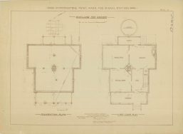 RG26: Lighthouse Plans; WA, Marrowstone Point; #3. Keepers Dwelling, Foundation and First Floor plan, 1895. NAID: 87202021. https://catalog.archives.gov/id/87202021