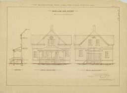 RG26: Lighthouse Plans; WA, Marrowstone Point; #5. Keepers Dwelling, Front and rear elevation, 1895. NAID: 87202025. https://catalog.archives.gov/id/87202025