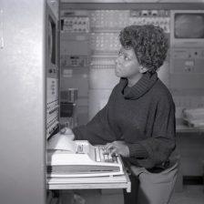 """Phyllis Williamson - First female apprentice graduate."" Date Taken: November 1979 (Local ID: 255_GRC_1979_04758)"