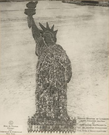 Original Caption: Human Statue of Liberty. Eighteen thousand officers and men were required to for this living Statue of Liberty at Camp Dodge, Des Moines, Iowa. September 1918. Local Identifier: 165-WW-521B-1