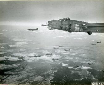 """342-FH-3A-19633 """"Formation of """"Flying Fortresses"""" of the 91st Bomb Group, 8th Air Force, enroute to target of the day -- Oberpfaffenhofen, Germany. 18 March 1944."""""""