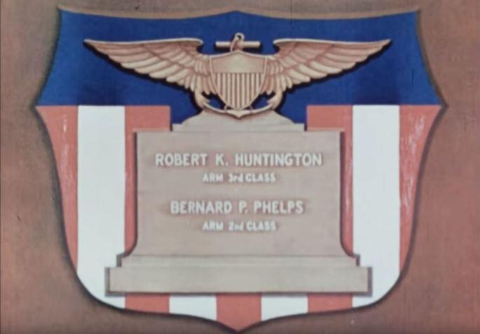 "Title card reading ""ARM 3rd Class Robert K. Huntington and ARM 2nd Class Bernard P. Phelps"""