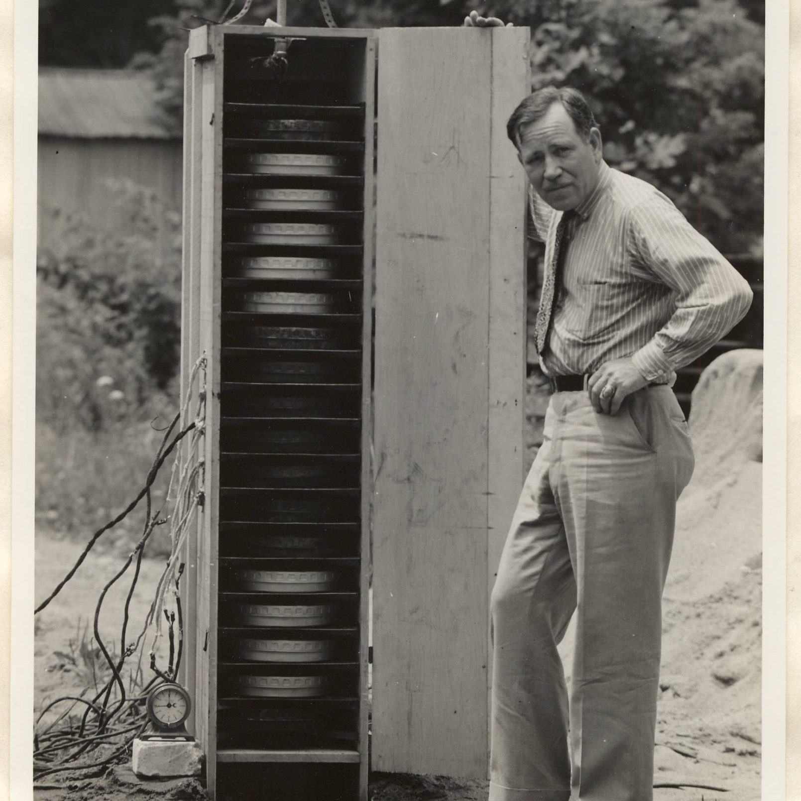 John Bradley with film cabinet during tests, 1937. (Collection BRDLY)