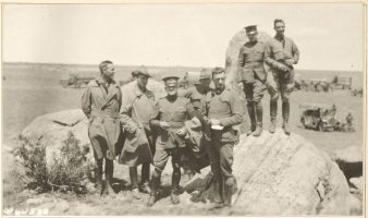 Group of convoy officers at the point where the Lincoln Highway crosses the Continental Divide, west of Laramie, Wyoming 111-SC-64538 NAID 86733688