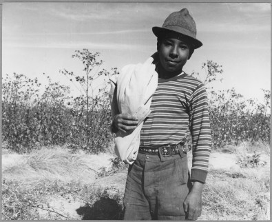 """Original Caption: """"Pinal County, Arizona. Mexican boy age 13, coming in from cotton field at noon. He picked 27 pounds of Pima cotton (earnings about $.45) during the morning. Note stamped work ticket in his hand."""" Photographer: Dorothea Lange. Date: November 1940. Local ID: 83-G-41839 (NAID 522044)"""