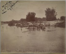 """Original Caption: """"Crossing Porac River, January 1900. 32nd Infantry in [Philippine Islands], Taken by Jake Landis."""" 94-SAW-1 (NAID: 155510276)"""