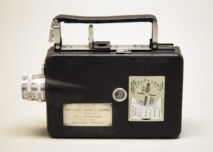 """A 16mm film camera, with dedication plaque reading: """"To President Harry S. Truman 1947 with admiration from your newsreel friends"""""""