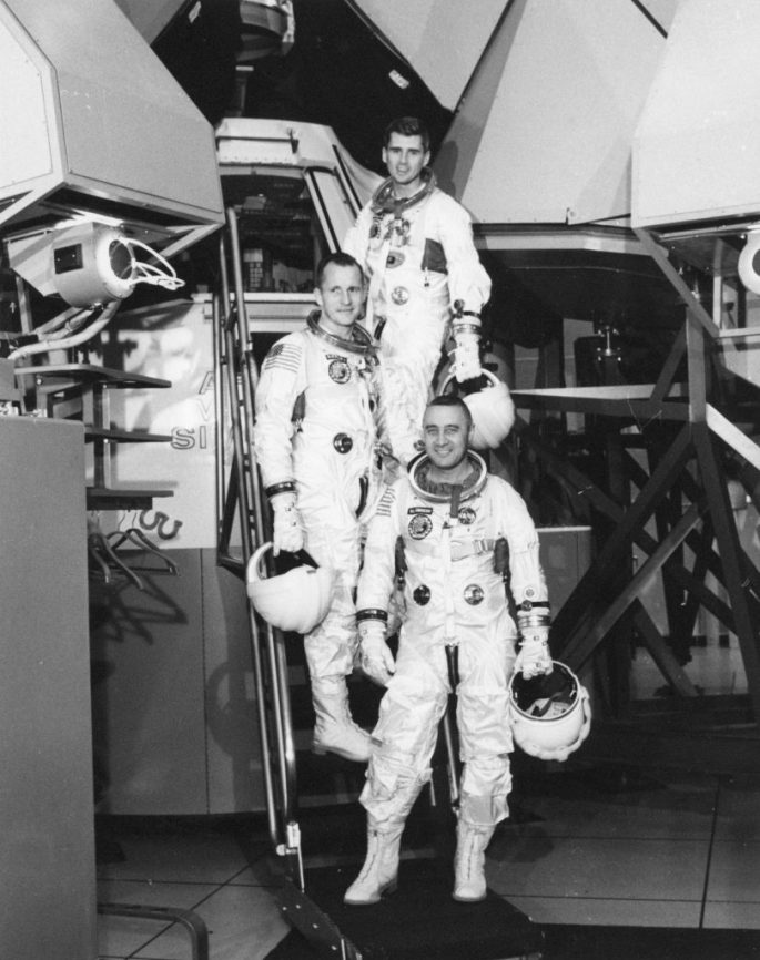 Photograph of Astronauts for the First Manned Apollo Mission