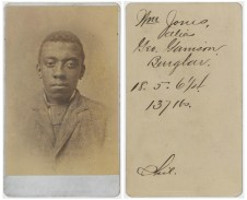 """Identification Card for William Jones, alias George Garrison (National Archives Identifier 76040656), an example of a """"Philadelphia"""" card."""