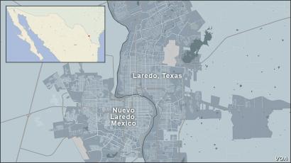 Map of Laredo, Texas and Nuevo Laredo, Mexico