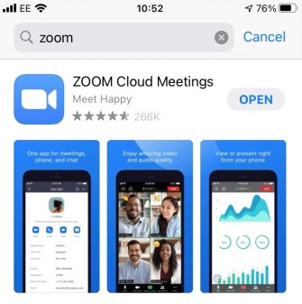 A screenshot of the Apple appstore with the Zoom Cloud Meetings app at the top of the screen.