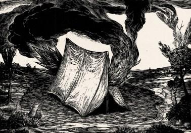 """Fire Tent, linocut on kozo, 14"""" x 20,"""" 201"""