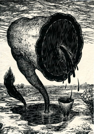 "Prairie Siren, linocut on kozo, 16.5"" x 11.75,"" 2015"