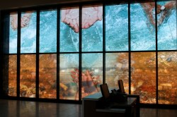 "Water Ways: Sensing Connections, 2014 Photographic digital collage, printed on adhesive vinyl, applied to glass windows size: 12 @ 45.47""X92.61"" and 4 @ 43.5""X92.61"" Context: Public Art Commission for New Fort McMurray Airport (Installed 2014)"