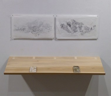 Happy Valley, Sad Mountain (installation and books) Birchbark, screen print on two sides of Japanese paper, 2014