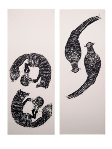 Complementary Forces, unique diptych woodcut on BFK Rives, 11 in x 30 in (x2), 2014