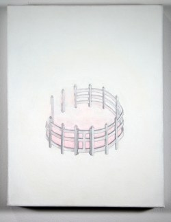 """Title: From the enclosure series: enclosure (blush) Date: 2011 Media: graphite, acrylic ink on paper on stretched canvas Size: (h) 14"""" x (w) 11"""" x (d) 1½"""""""