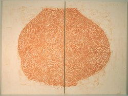"""Title: tit I (H.G. after L.B.) Date: 2016 Media: collagraph on honen on stretched canvas Size: (h) 36"""" x (w) 48"""" x (d) 1"""" (in two panels)"""