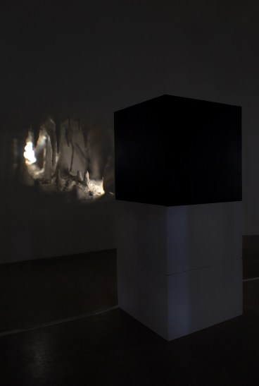 The Dark Chamber, 2017, [3 Camera Boxes: MDF, Cardboard, Papier-mȃché, Mud, LED Lights, Glass Condenser Lens, Projected Light], 3 Boxes (all same): 2 x 2 x 2'