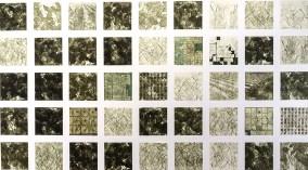 The Soy Field 2017 intaglio, digital satellite print, laser cut woodcut 72 x 297 inches