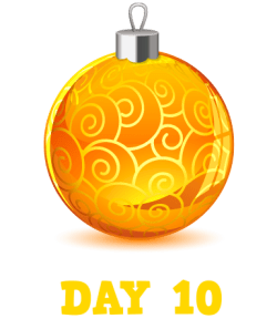 Animation: Gold Christmas Bauble with Swirls. Text: Day 10
