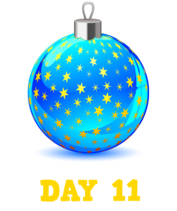 Animation: Blue Christmas Bauble with Gold Stars. Text: Day 11