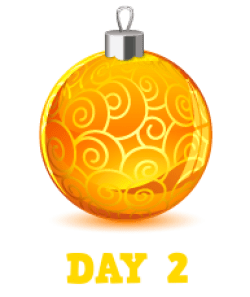 Animation: Gold Christmas Bauble with Gold swirls. Text: Day 2