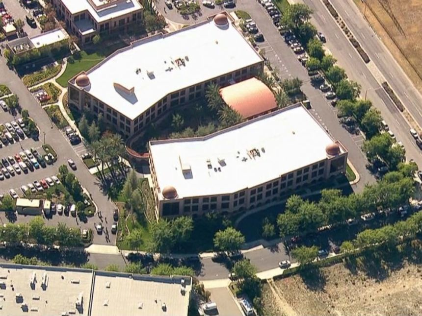 Photo grabbed from KABC news helicopter footage. KABC helicopter footage showing the Inland Regional Center where the shooting occurred.