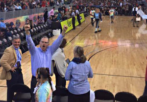 Photo Courtesy of USD Associated Students President James Harris celebrates USD's win over SDSU