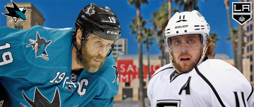 Joe Thornton of the San Jose Sharks and Anze Kopitar of the Los Angeles Kings are trying to get their teams past their division rival. Photo Courtesy of Nick Kave/Flickr CC