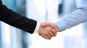Image of a firm handshake  between two colleagues in office.