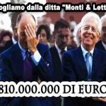 """Vogliamo dalla ditta """"Monti & Letta"""" 810.000.000 di euro"""