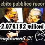 23 mesi di larghe intese e il Debito pubblico è da record 133,3%