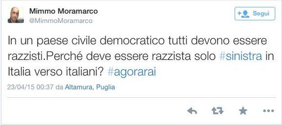 Mimmo Moramarco-tweet-razzismo