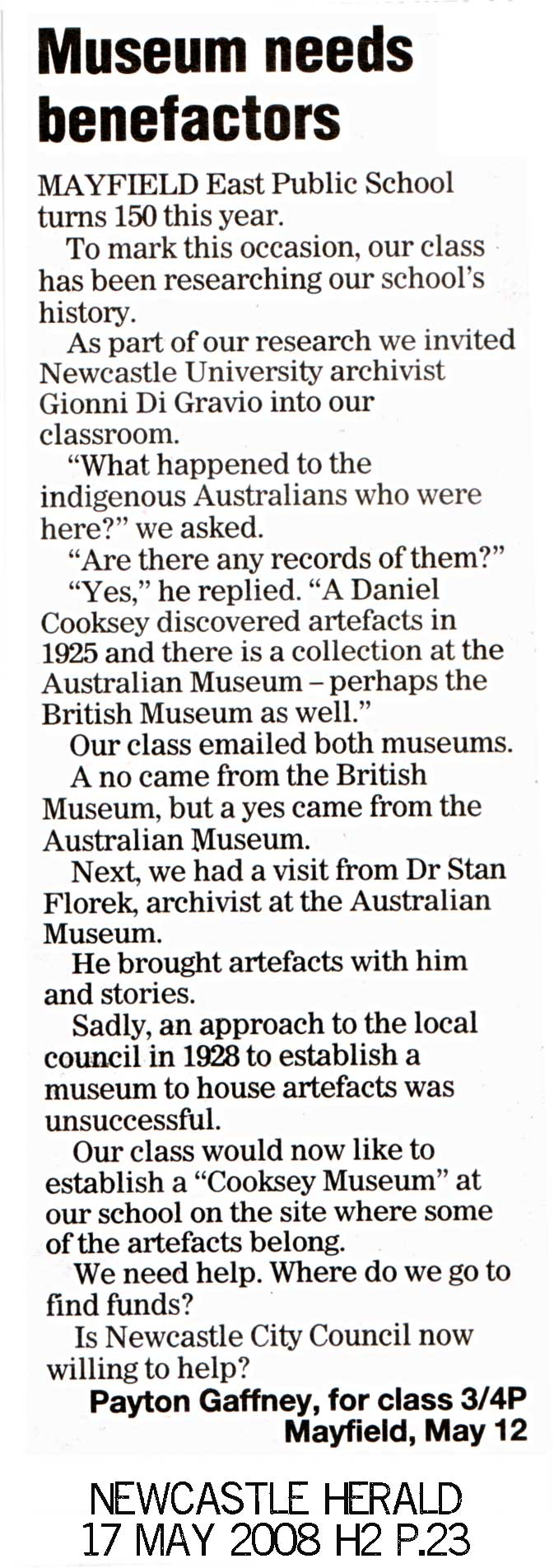 Museums Need Benefactors - Letter to the Herald 17 May 2008 p.23