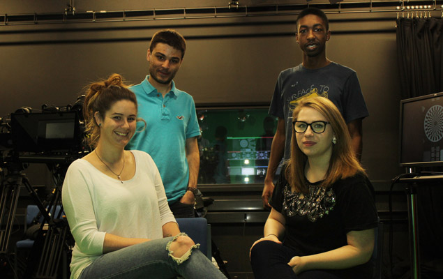 Third year multimedia journalism students in UoN TV studio getting ready for their Media Conference assignment. L to R: Cali Sullivan, Ben Yaltaghian, Catherine Wilson, Dominic Marshall.