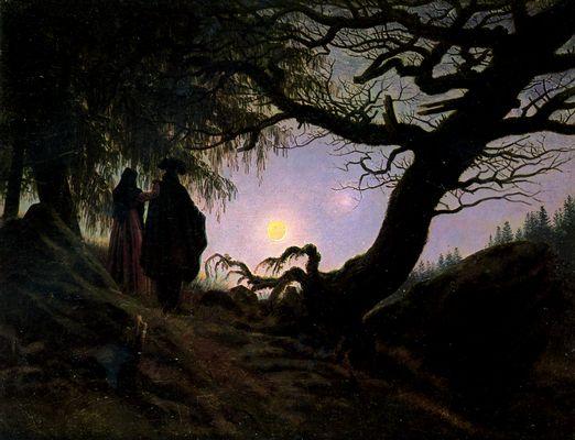 Uomo e donna in contemplazione della Luna - Caspar David Friedrich