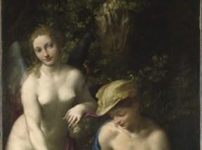 Correggio (Antonio Allegri), Venere con Mercurio e Cupido (Educazione di Amore), 1527-1528, Olio su tela, 155.6 x 91.4 cm, London, The National Gallery