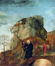 Mary and Joseph on the Way to Bethlehem (Portinari Altarpiece) Hugo van der Goes