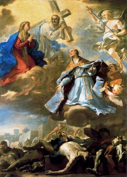 Luca Giordano, San Gennaro intercede presso la Vergine, Cristo e il Padre Eterno per la peste