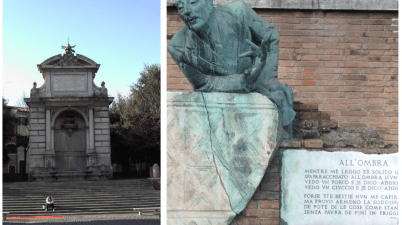 Piazza Trilussa, fontana, statua, Trastevere