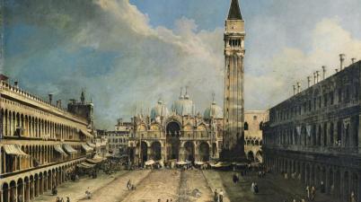 """Il dipinto del 1723 - """"Piazza San Marco verso la Basilica"""" di Canaletto"""