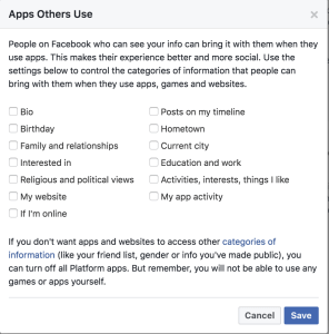 Facebook Apps Other Use Settings